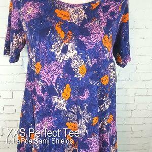 NWT XXS LuLaRoe Perfect Tee Tunic Top Shirt Floral